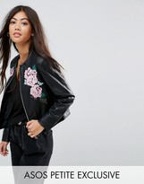 Asos Leather Look Jacket with Embroidery Detail