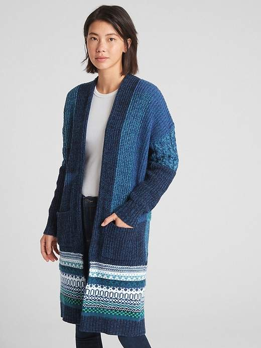 Gap Mix-Knit Patchwork Duster Cardigan Sweater