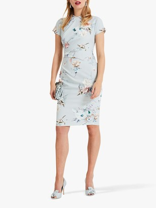 Phase Eight Ashley Floral Print Dress, Duck Egg
