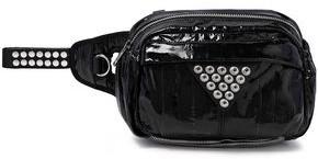 Alexander Wang Snap-embellished Patent-leather And Mesh Belt Bag