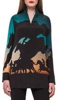 Akris Turf-Print Silk Crepe Tunic Top, Multi