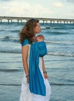 Beachfront Baby - The Original Water & Warm Weather Adjustable Ring Sling Baby Carrier | Made in USA with Safety Tested Fabric & Aluminum Rings | Lightweight, Quick Dry & Breathable (One Size, Caribbean Blue) by Beachfront Baby