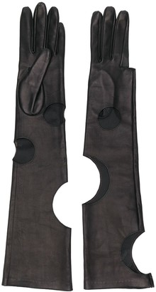 Manokhi Cut-Out Detail Long Gloves