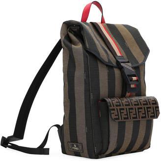 Fendi Men's Pequin Striped Canvas Flap-Top Backpack