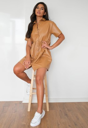 Missguided Camel Faux Leather Smock Dress