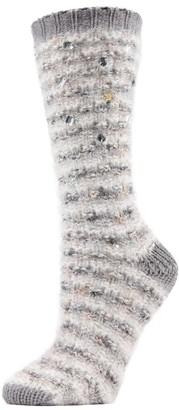 Me Moi Memoi Jeweled Marled Knit Crew Socks