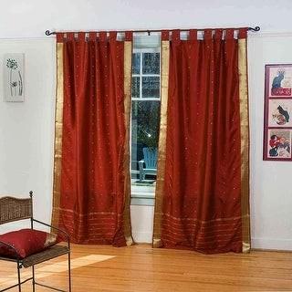 Indian Selections Rust Tab Top Sheer Sari Curtain / Drape / Panel - Pair