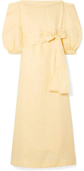 Lisa Marie Fernandez Rosie Off-the-shoulder Linen Maxi Dress - Pastel yellow