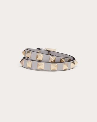 Valentino Rockstud Calfskin Double-strap Bracelet Women Light Grey 100% Pelle Di Vitello - Bos Taurus OneSize