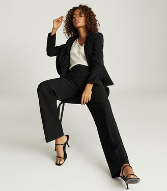 Reiss Hayes - Wide Leg Tailored Trousers in Black