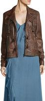 Haute Hippie Blondie Open Lace-Back Leather Jacket
