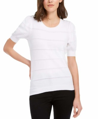 Maison Jules Womens White Short Sleeve Jewel Neck Top UK Size:4