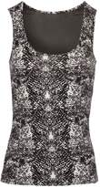 Morgan Python Print Tank Top With Fishnet Panel