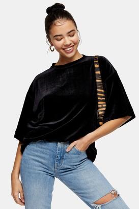 Topshop Womens Petite Black Velvet Tunic - Black