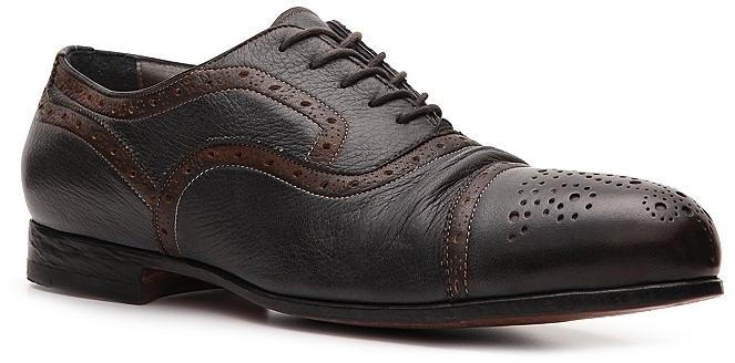 Santoni Textured Leather Cap Toe Oxford