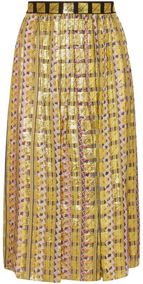 Temperley London Metallic Fil Coupe Chiffon Midi Skirt