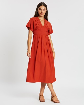 Atmos & Here Teagan Gathered Midi Dress