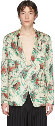 Dries Van Noten Off-White and Multicolor Viscose Floral Blazer
