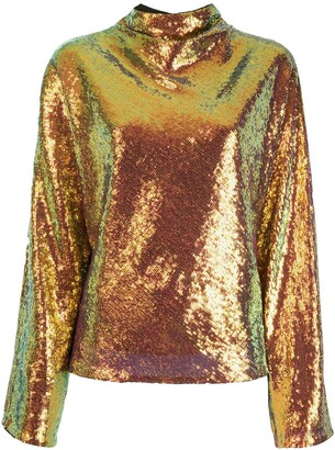 Sally LaPointe Cowl-Neck Sequin Top