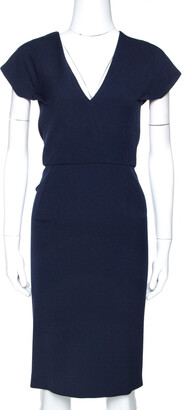 Roland Mouret Navy Blue Wool Crepe Sheath Dress L