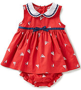 Starting Out Baby Girls 3-24 Months Ric Rac Trim Sailboat Printed Dress