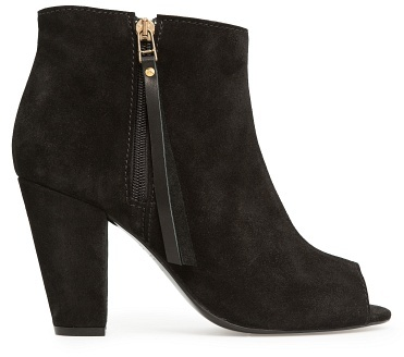 MANGO Touch - Peep-Toe Suede Ankle Boots