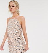 Asos DESIGN Petite mini dress in disc sequin