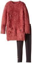 Ikks Eyelash Faux Fur Dress with Leggings Set (Little Kids/Big Kids)