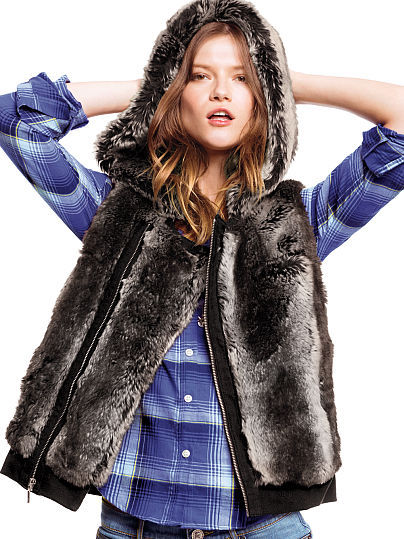 Victoria's Secret Faux-fur Ponte Vest