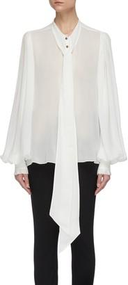 Balmain Ascot bow sheer silk georgette blouse