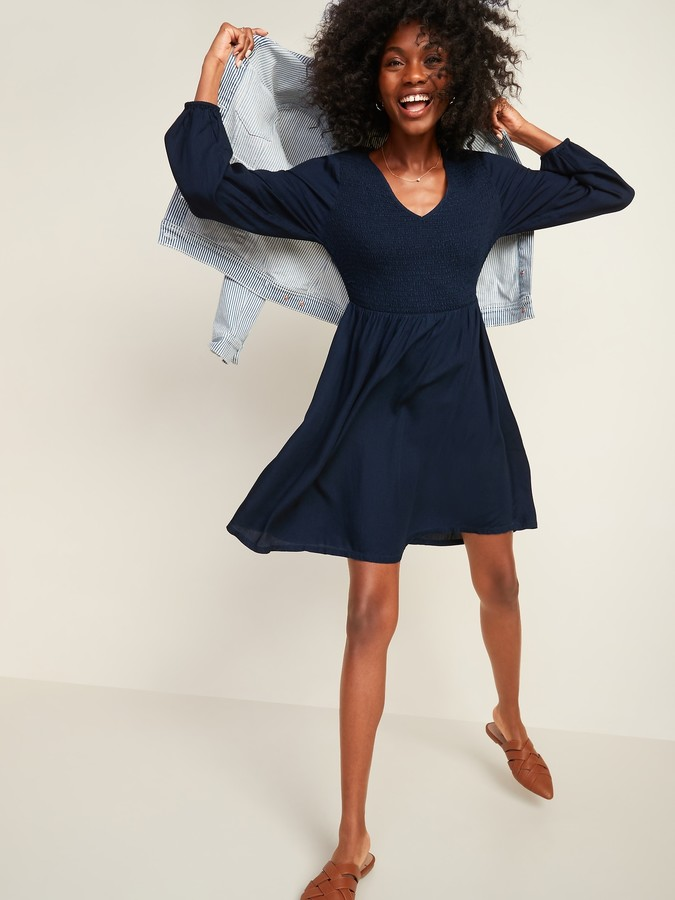Old Navy Chambray Smocked-Bodice Fit & Flare Dress for Women