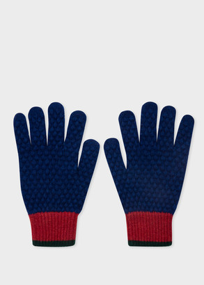Paul Smith Men's Navy Colour-Block Textured Wool Gloves