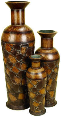 Uma Enterprises New Traditional Metal Vases, 3-Piece Set, Bronze