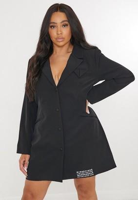 Missguided Plus Size Black Patch Tailored Blazer Dress
