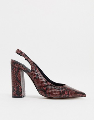 ASOS DESIGN Parson slingback high block heels in burgundy snake