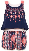 RMLA Little Girls Blue Cobalt Aztec Tribal Inspired Print Top Shorts Outfit