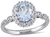 Allura 1 CT. T.W. Aquamarine and .63 CT. T.W. White Topaz with Diamond Accent Vintage Ring in 14K White Gold