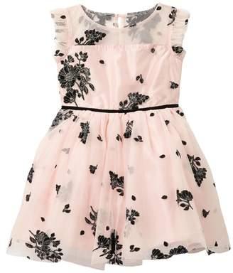 Zunie Flower and Glitter Flocked Mesh Dress (Big Girls)
