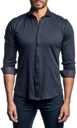 Jared Lang Slim Fit Solid Button-Up Sport Shirt