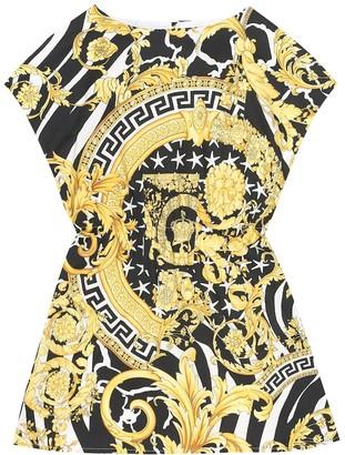 Versace Kids Hibiscus stretch-cotton dress