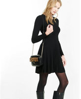 Express plaited fit and flare sweater dress