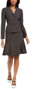 Le Suit Pin Dot Three-Button Skirt Suit