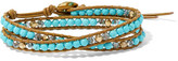 Chan Luu Leather, Gold-tone, Turquoise And Swarovski Crystal Wrap Bracelet - one size