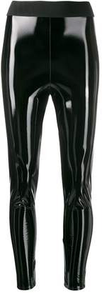 Elisabetta Franchi glossy-effect cropped leggings