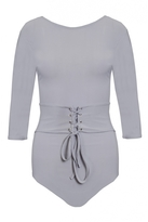 Quiz Grey 3/4 Sleeve Corset Detail Bodysuit