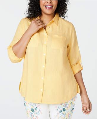 Charter Club Plus Size Linen Utility Shirt