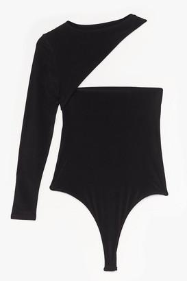 Nasty Gal Womens Cut-Out of Line High-Leg Slinky Bodysuit - Black