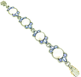 Arthur Marder Fine Jewelry Silver 16.70 Ct. Tw. Diamond, Tanzanite, & 16Mm Pearl Bracelet