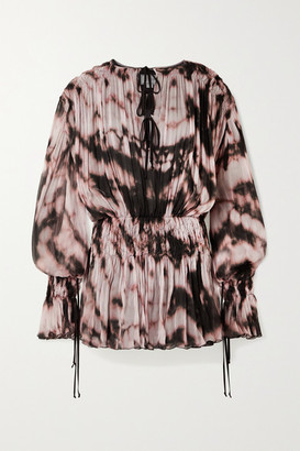 Redemption Lace-up Smocked Tie-dyed Plisse Silk-chiffon Mini Dress - Pink