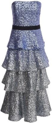 Marchesa Notte Strapless Ruffled Sequin Long Dress